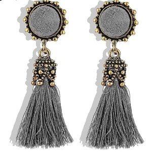 Silver Grey and Gold Boho Tassel Drop Earrings